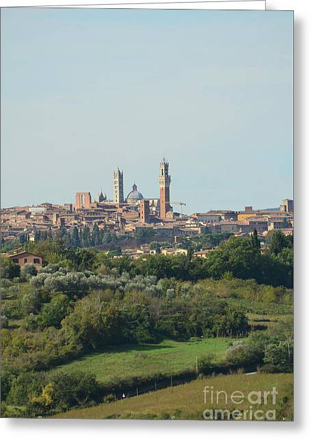 Towers Of Siena In Italy In The Distance Greeting Card by DejaVu Designs