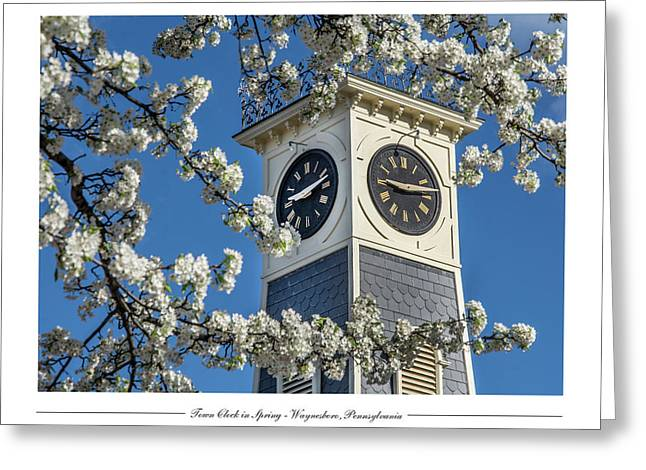 Town Clock In Spring Greeting Card