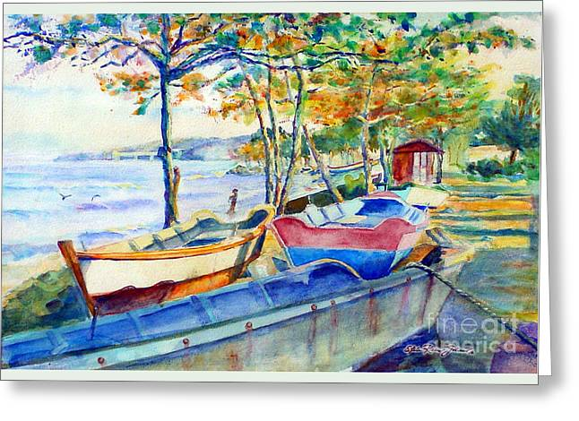 Town Fishery Greeting Card by Estela Robles