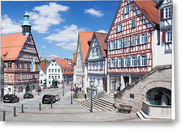 Town Hall At Market Square, Backnang Greeting Card by Panoramic Images