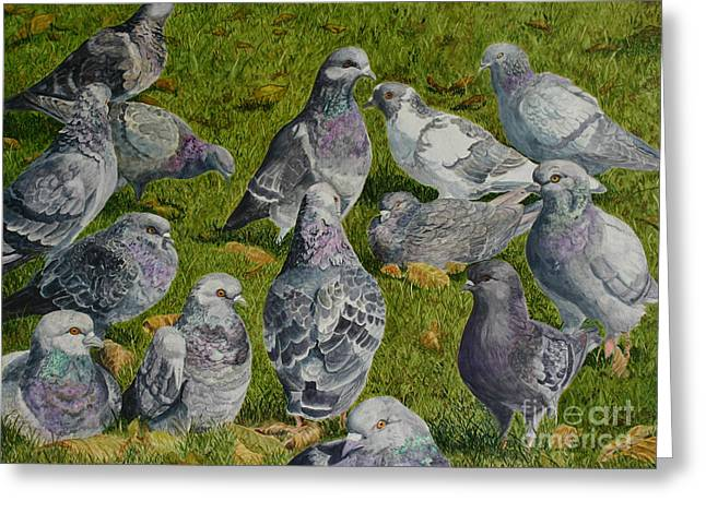 Town Hall Meeting Greeting Card by Helen Shideler