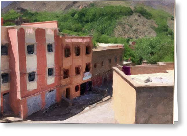 Town In Atlas Mountains Morocco Greeting Card by Carrie Kouri