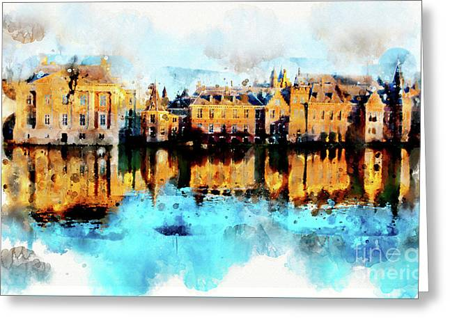 Greeting Card featuring the digital art Town Life In Watercolor Style by Ariadna De Raadt