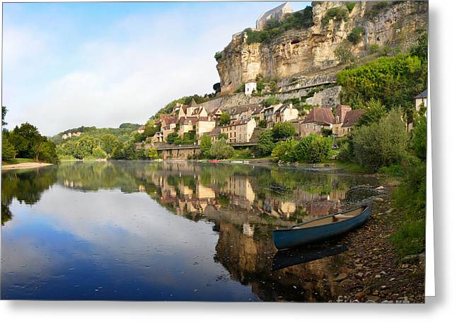 Greeting Card featuring the photograph Town Of Beynac-et-cazenac Alongside Dordogne River by IPics Photography