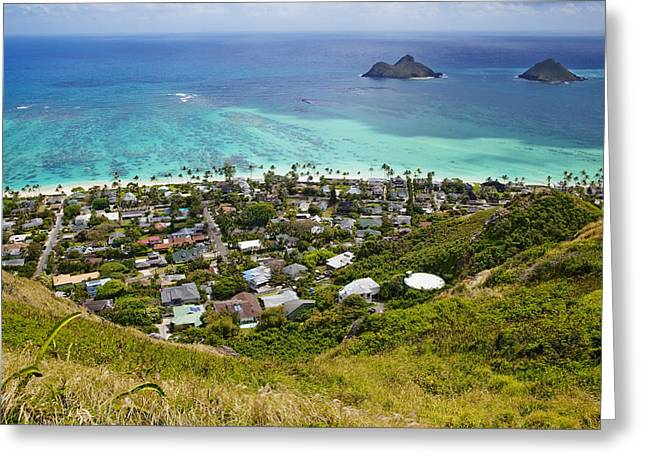 Aerial View Greeting Cards - Town of Kailua with Mokulua Islands Greeting Card by Inti St. Clair