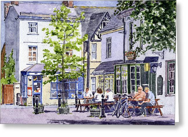 Repaired Paintings Greeting Cards - Town Square Eynsham Greeting Card by Mike Lester