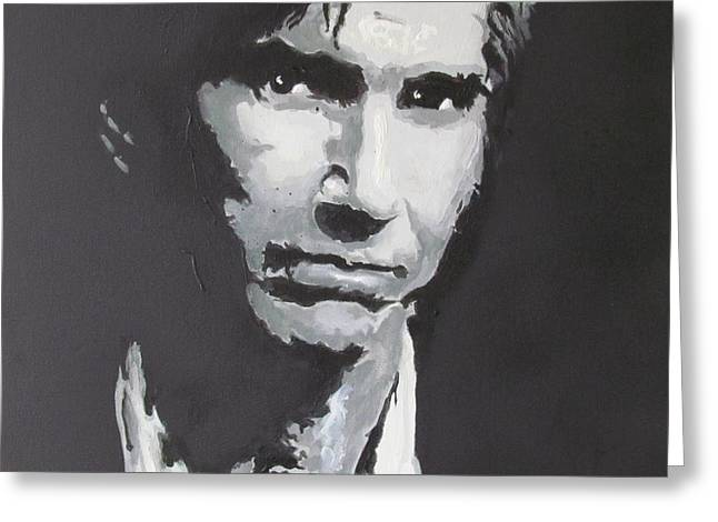 Greeting Card featuring the painting Townes Van Zandt  by Eric Dee