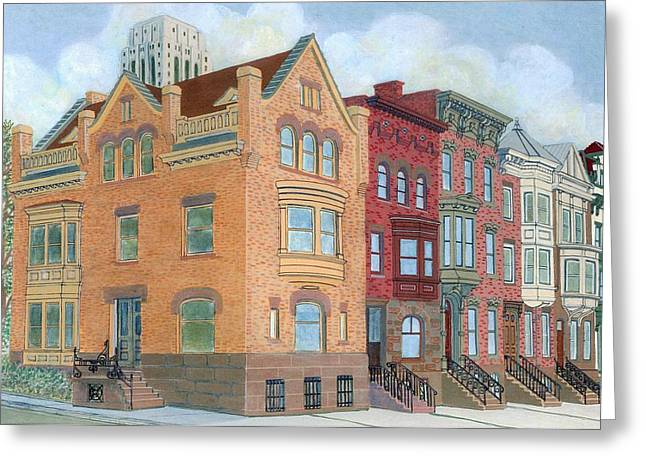Townhouses Greeting Card by David Hinchen