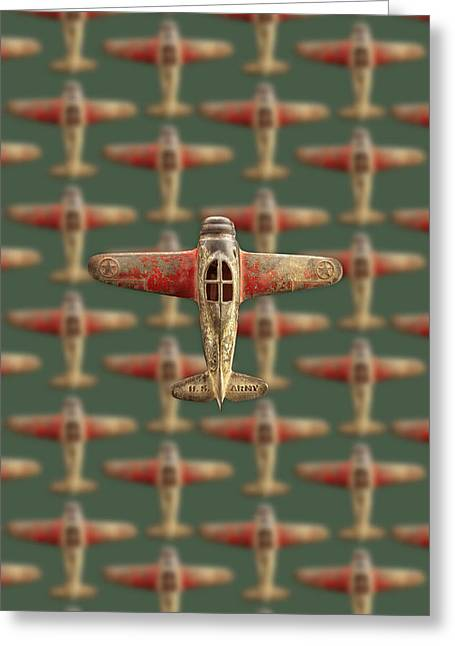 Toy Airplane Scrapper Pattern Greeting Card by YoPedro