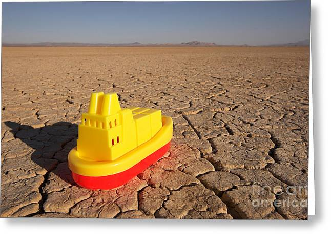 Toy Boat & Dry Lake Greeting Card