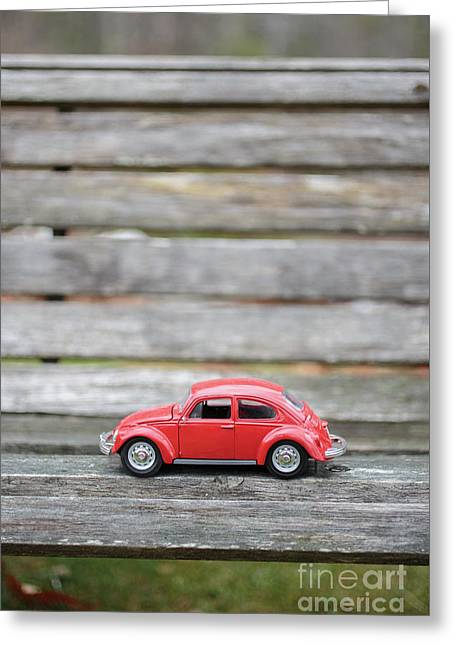Toy Car On A Bench Greeting Card