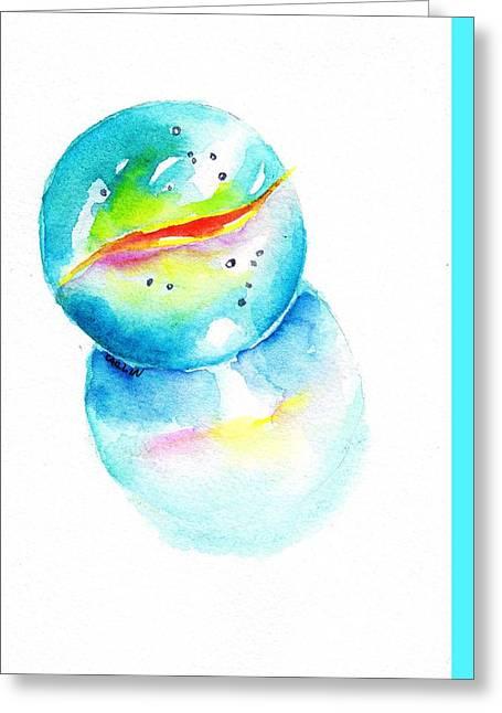 Toy Glass Marble Watercolor Greeting Card by Carlin Blahnik