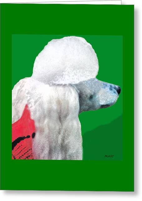 Toy Poodle Louie In His Red Sweater Greeting Card