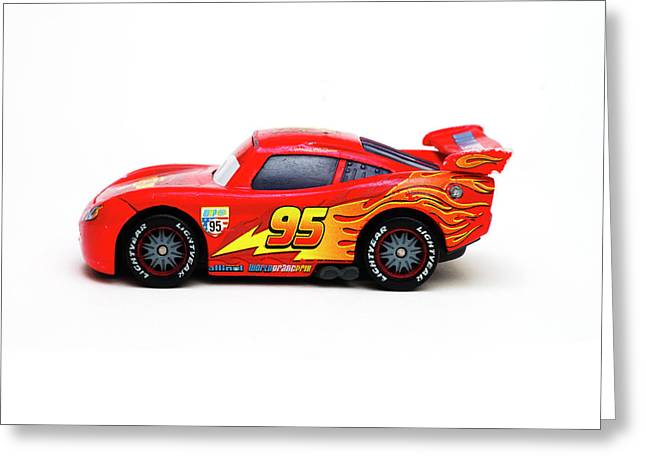 Toy Red Sports Car Isolated On White Background Greeting Card