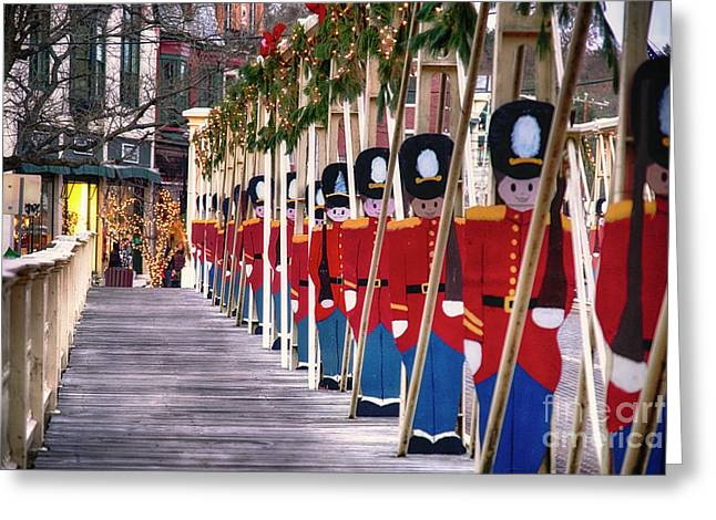 Toy Soldiers On A Bridge Greeting Card by George Oze