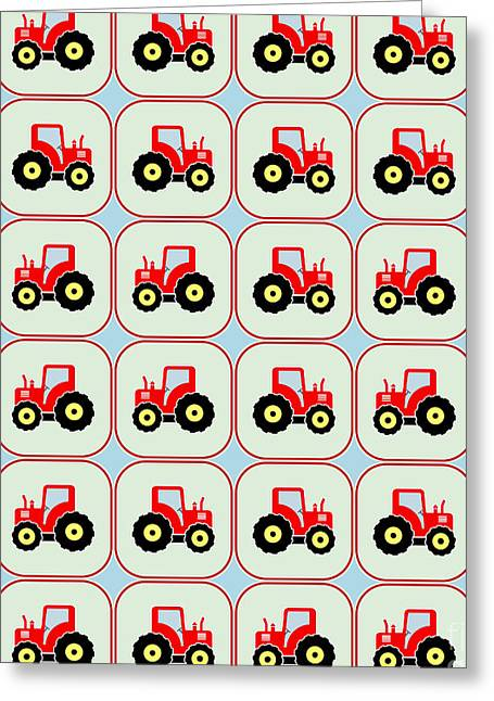 Toy Tractor Pattern Greeting Card