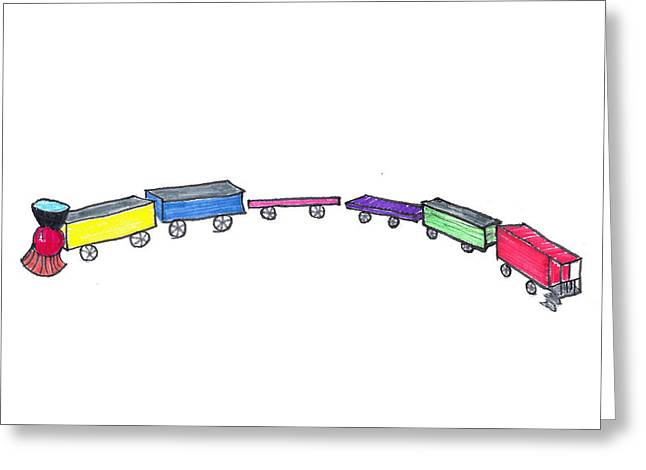 Toy Train Greeting Card by Judy Hall-Folde