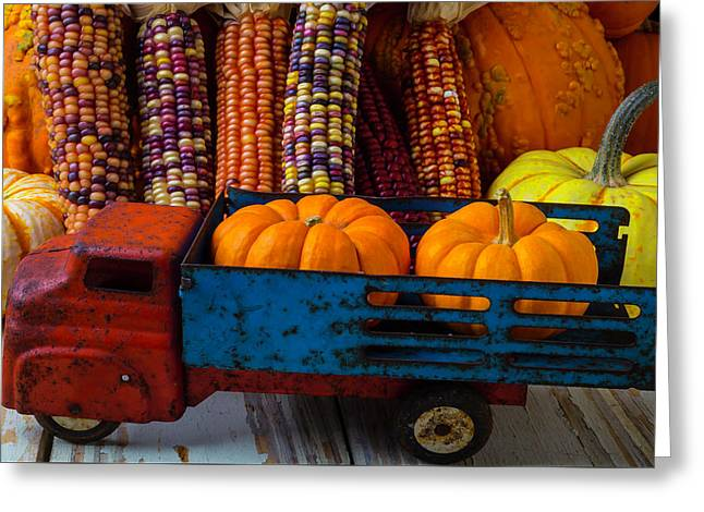 Toy Truck And Pumpkins Greeting Card by Garry Gay