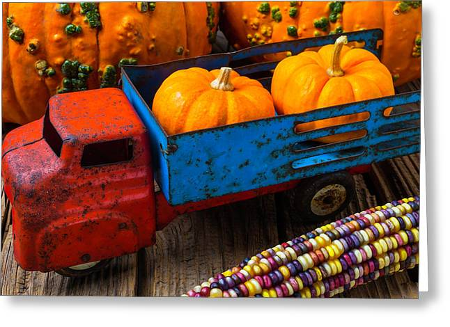 Toy Truck And Punkins Greeting Card