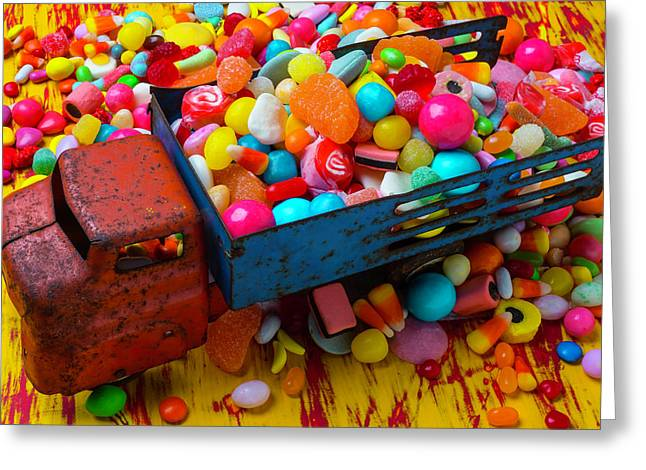 Toy Truck Full Of Candy Greeting Card by Garry Gay