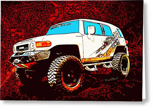 Toyota Fj Cruiser 4x4 Cartoon Panel From Vivachas Greeting Card
