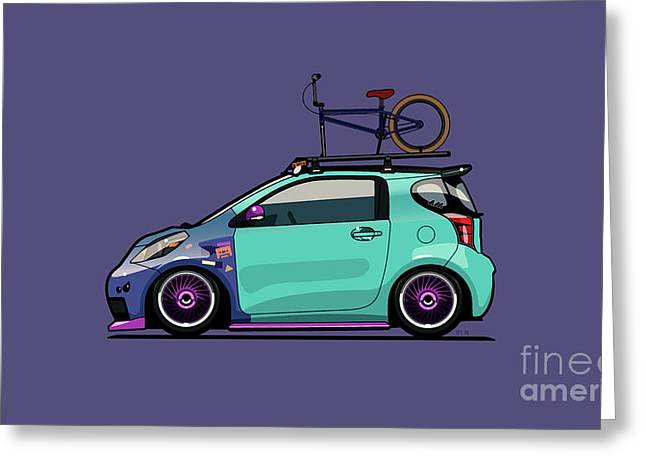 Toyota Scion Iq Slammed With Bmx Bike Greeting Card by Monkey Crisis On Mars