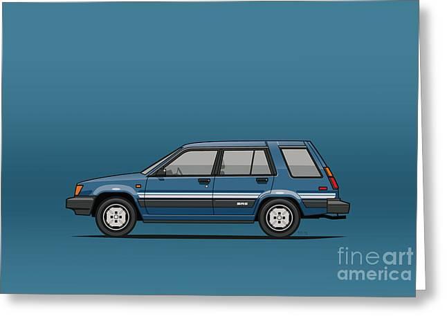 Toyota Tercel Sr5 4wd Wagon Al25 Blue Greeting Card