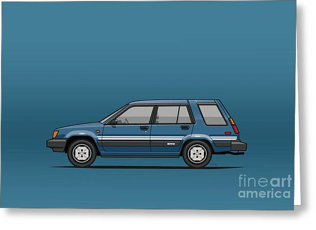 Toyota Tercel Sr5 4wd Wagon Al25 Blue Greeting Card by Monkey Crisis On Mars