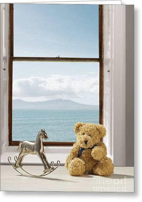 Toys Overlooking The Ocean Greeting Card by Amanda Elwell
