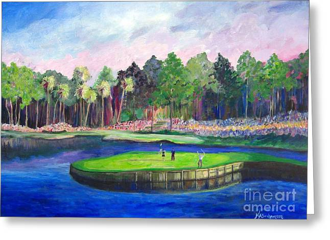 Tpc 17th Sawgrass Greeting Card by Kristen Abrahamson