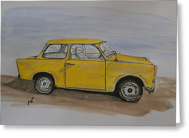 Trabant Greeting Card by Maria Woithofer