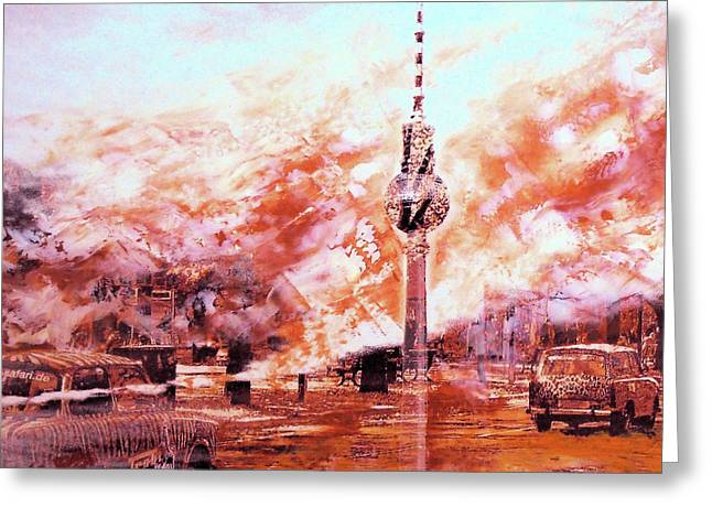Trabbis Through Berlin And Alex Greeting Card