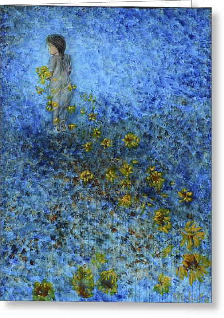 Greeting Card featuring the painting Traces Sunflowers Lost by Nik Helbig
