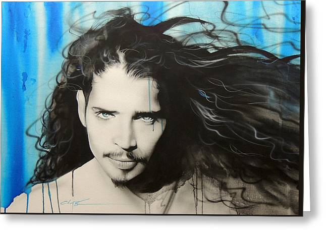 Chris Cornell - ' Track 12 ' Greeting Card by Christian Chapman Art
