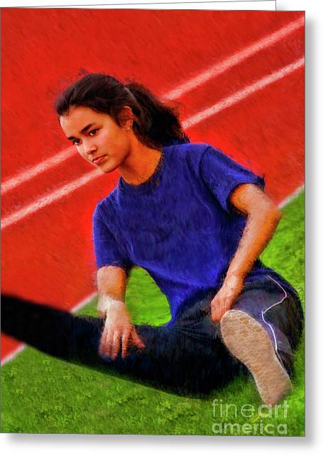 Track Side Stretch Greeting Card by Blake Richards