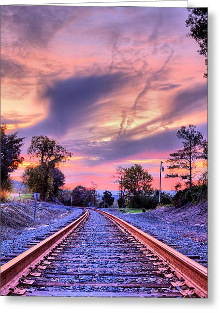 Tracking Towards A Cure Greeting Card by JC Findley