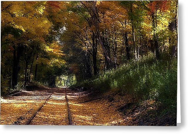 Tracks To Autumn Greeting Card