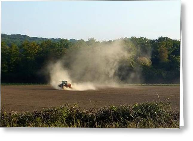 Greeting Card featuring the photograph Tracteur Enfume by Marc Philippe Joly