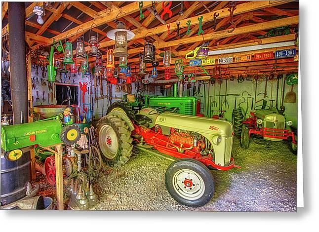 Tractor Garage Greeting Card by Paul Freidlund