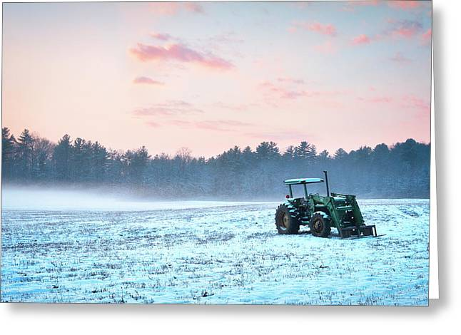 Tractor In A Snowy Field Durham Nh Greeting Card by Eric Gendron