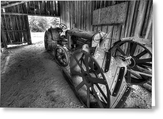 Tractor In Barn Greeting Card by Twenty Two North Photography