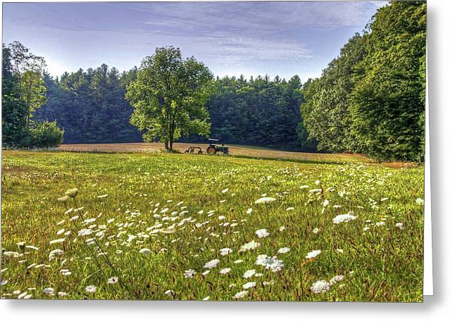 Tractor In Field With Flowers Greeting Card