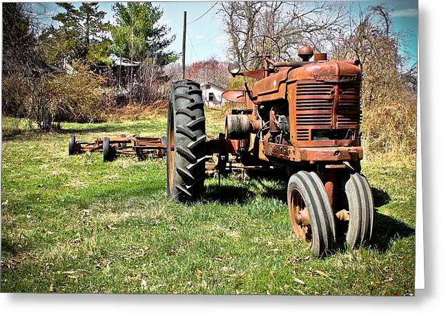 Tractor In The Country Greeting Card by Colleen Kammerer
