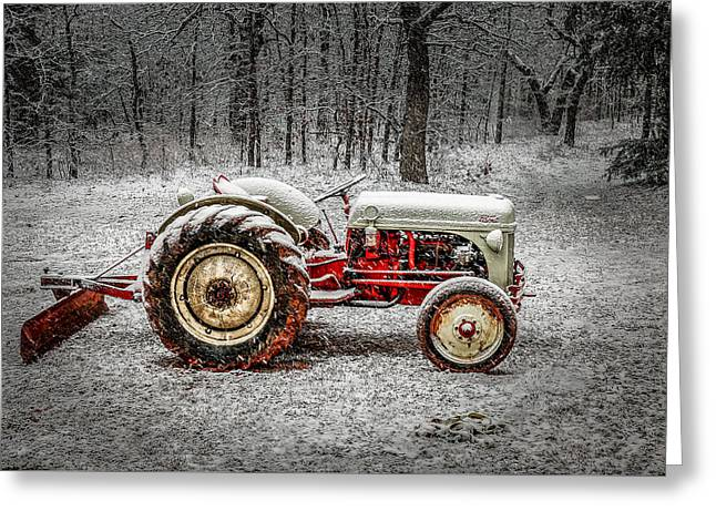 Tractor In The Snow Greeting Card