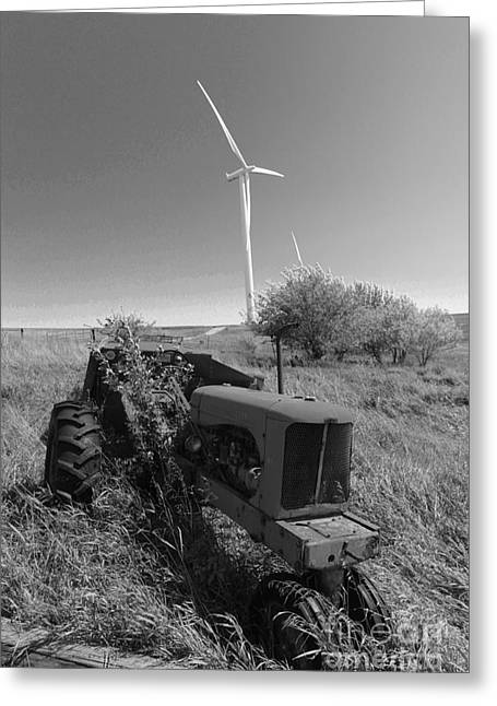Tractor In The Wind Greeting Card