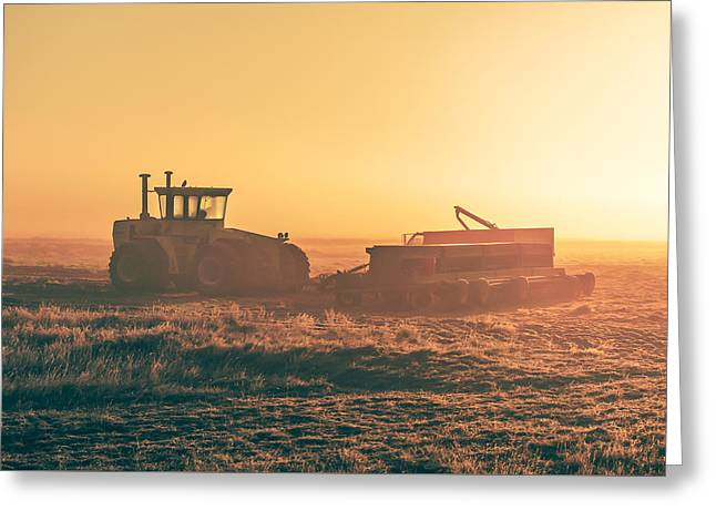 Tractor Morning Glow Greeting Card by Todd Klassy
