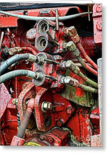 Tractor Parts, Hydraulics, Gritty Greeting Card