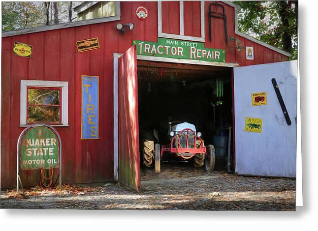 Tractor Repair Shop Greeting Card by Lori Deiter