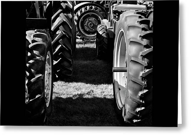 Tractor Tire Lineup Greeting Card by Luke Moore