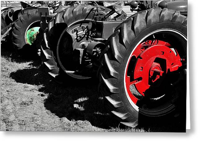 Tractor Wheels Greeting Card by Luke Moore